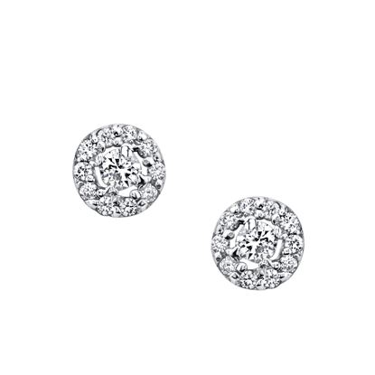 14Kt White Gold Classic Halo Stud Diamond Earrings
