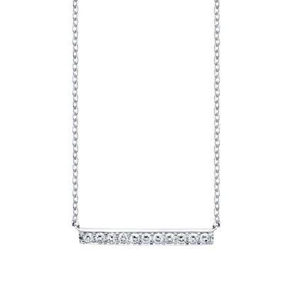 14kt White Gold Modern Design Diamond Horizontal Bar Pendant