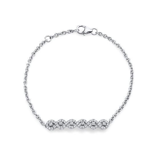 14kt White Gold Braided Diamond Bracelet