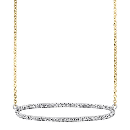 14kt White and Yellow Gold Horizontal Oval Diamond Pendant
