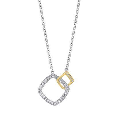 14kt White and Yellow Gold Linked Square Diamond Pendant