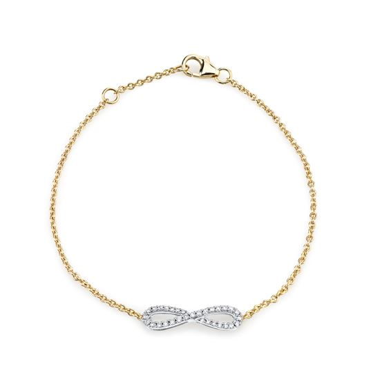 14kt White and Yellow Gold Infinity Symbol Diamond Bracelet