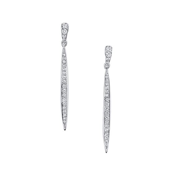 14Kt White Gold Dangle Style Diamond Earrings