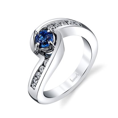 14Kt. White Gold Bypass Style Sapphire and Diamond  Ring