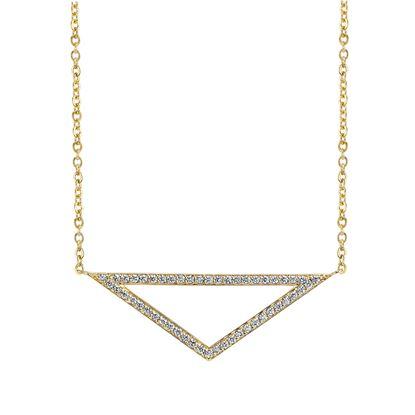 14kt Yellow Gold Contemporary Diamond Triangle Pendant