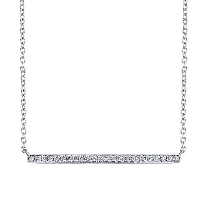 14kt White Gold Modern Diamond Horizontal Bar Pendant