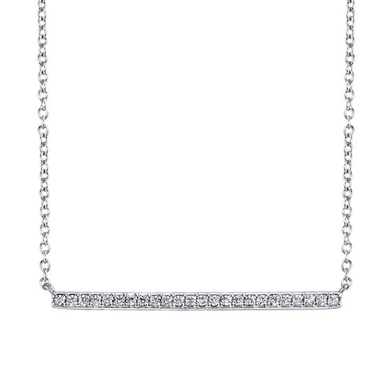 14kt White Gold Modern Diamond Horizontal Bar Pendant