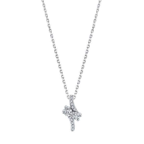 14Kt White Gold Two-Stone Bypass Style Diamond Pendant