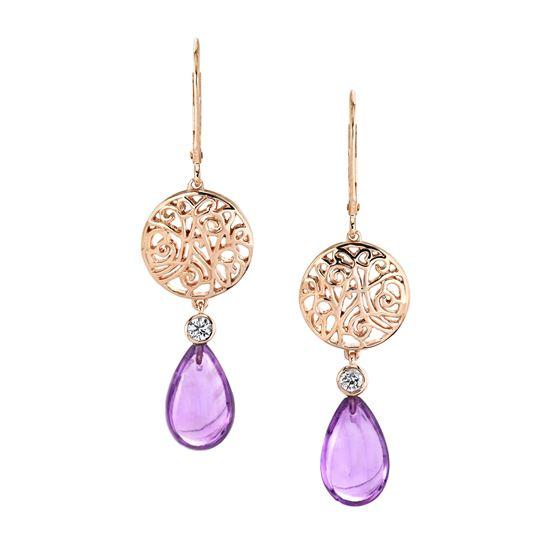 14Kt Rose Gold Decorative Amethyst Briolette and Diamond Dangle Earrings