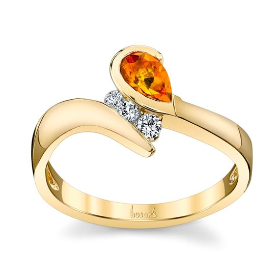 14Kt Yellow Gold Bypass Style Pear Shaped Citrine and Diamond Ring