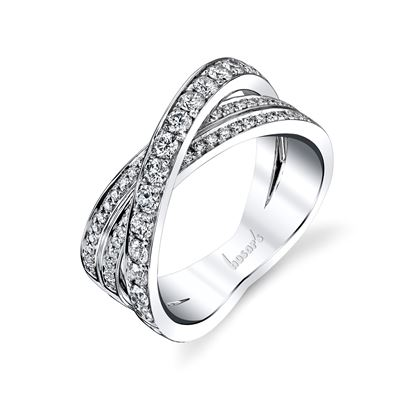 14Kt White Gold Intertwined Diamond Ring