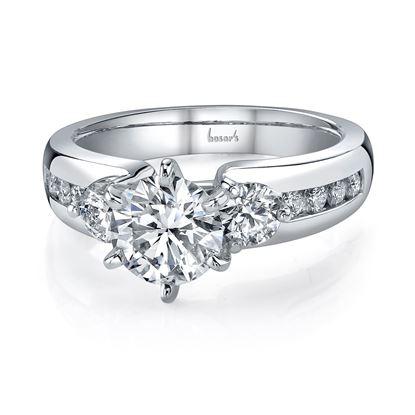 14Kt White Gold Classic Three Stone Diamond Engagement Ring