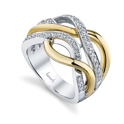 14Kt White and Yellow Gold Modern Intertwined Diamond Right Hand Ring