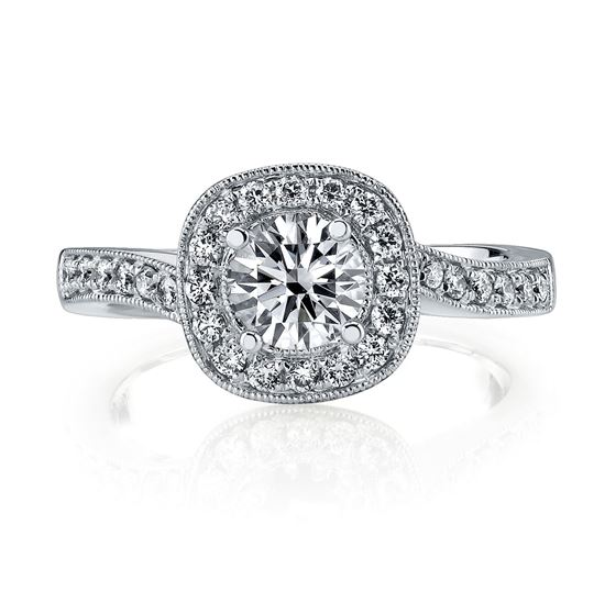 14Kt White Gold Bypass Halo Diamond Engagement Ring