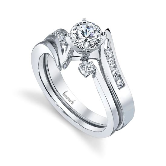 14Kt White Gold Bold Bypass Channel Set Diamond Engagement Ring