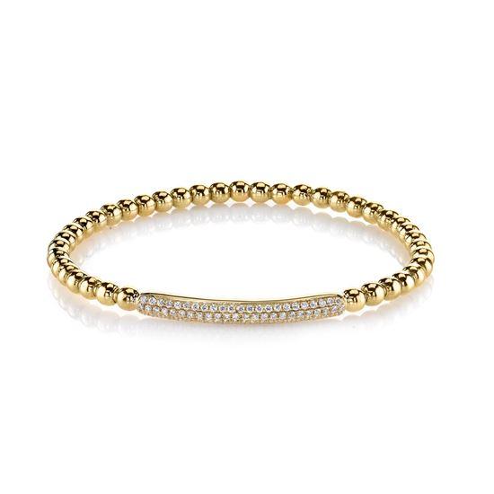 14Kt Yellow Gold Modern Pave Diamond Bracelet