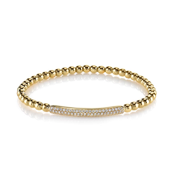 14Kt Yellow Gold Modern Pave Diamond Bracelet