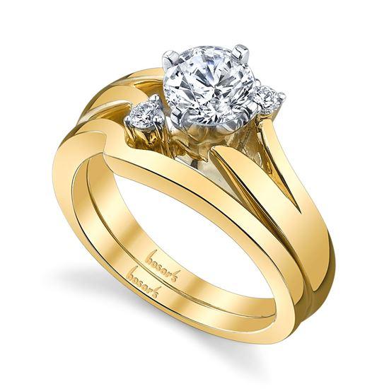 14Kt Yellow Gold Alluring Split Shank Three Stone Diamond Engagement Ring