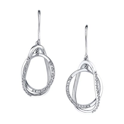 14Kt White Gold Crisscross Pear Shaped Diamond Earrings
