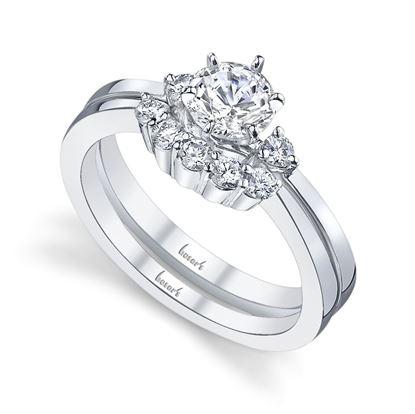 14Kt White Gold Elegant Pinch Shank 3 Stone Diamond Engagement Ring