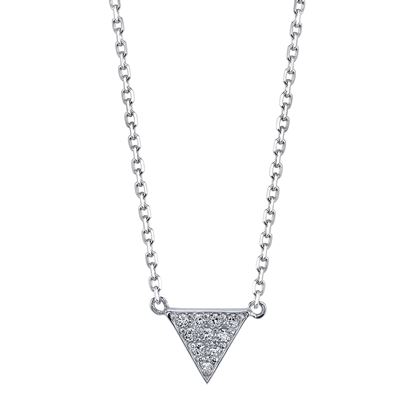 14kt White Gold Modern Diamond Triangle Pendant