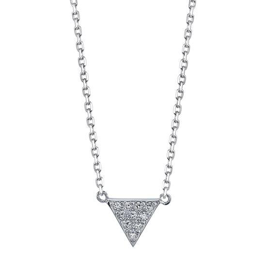 14kt White Gold Modern Diamond Triangle Pendant