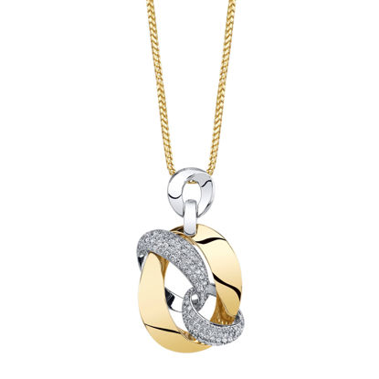 14kt White and Yellow Gold Diamond Pendant with Oval Crisscross Design