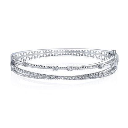 14kt White Gold Crisscross Diamond Bracelet