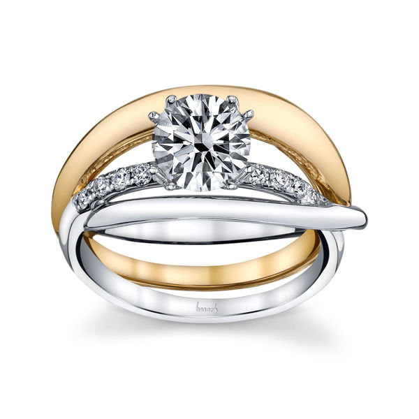 14Kt White and Yellow Gold Intertwined Band Diamond Engagement Ring