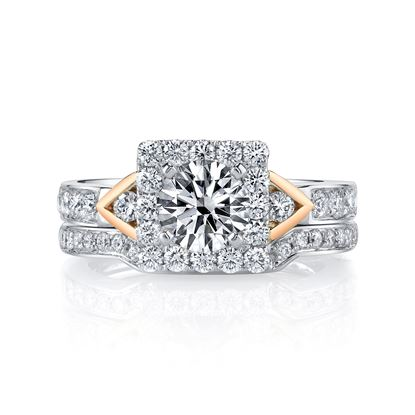 14Kt White and Rose Gold Square Halo Diamond Engagement Ring