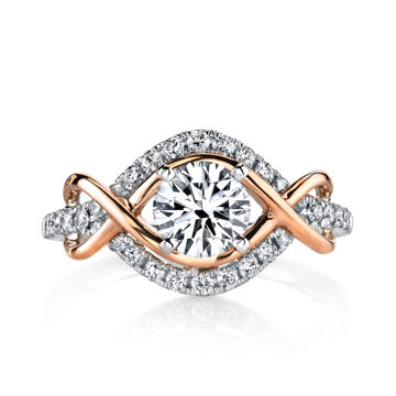 14Kt White and Rose Gold Infinity Diamond Engagement Ring