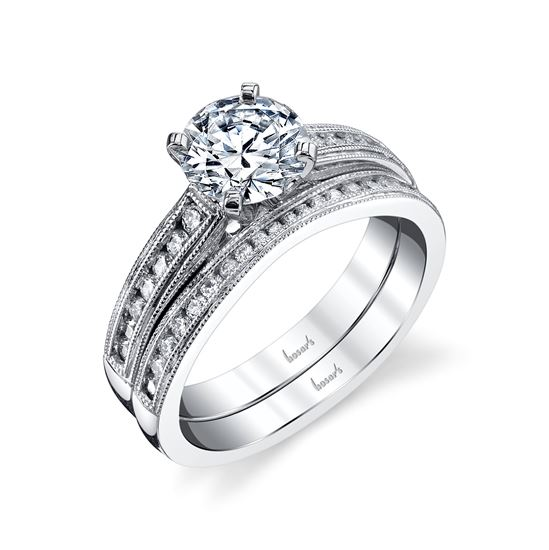 14Kt White Gold Vintage Milgrain Cathedral Diamond Engagement Ring