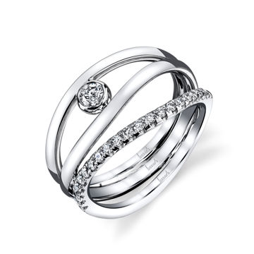14Kt White Gold Modern 3 Row Diamond Ring