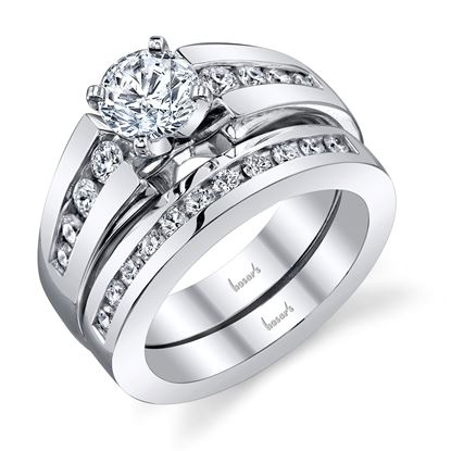 14Kt White Gold Flared Channel Set Cathedral Diamond Engagement Ring