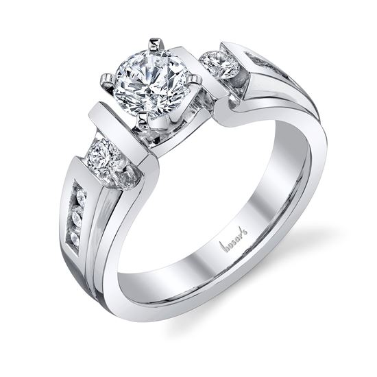 14Kt White Gold Bar and Channel Set Cathedral Diamond Engagement Ring