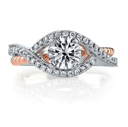 14Kt White and Rose Gold Bypass Diamond Engagement Ring with Rope Detail.