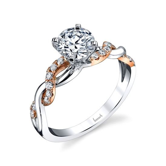 14Kt White and Rose Gold Twisted Diamond Engagement Ring
