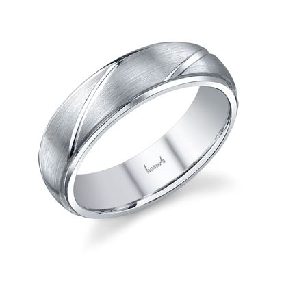 14Kt White Gold Men's Wedding Ring with Brushed Finish