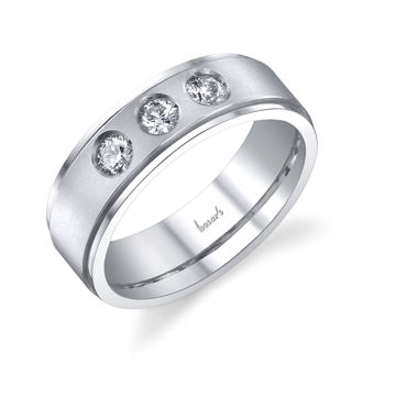 14Kt White Gold Men's Three-Stone Diamond Wedding Ring