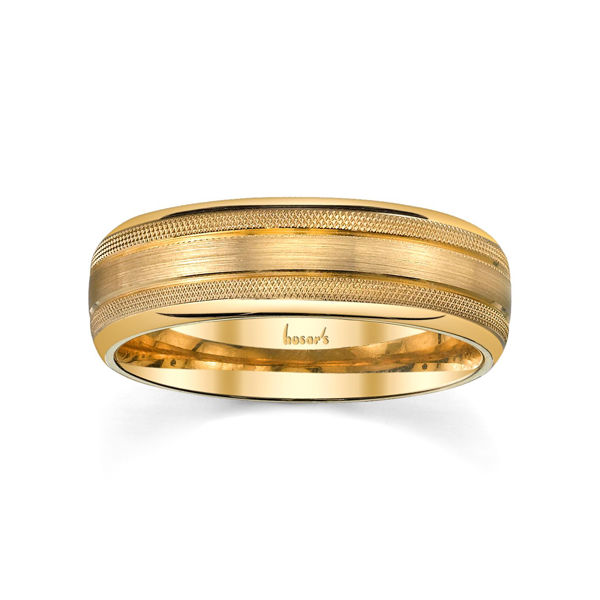 14Kt Yellow Gold Men's Wedding Band in Matte Finish