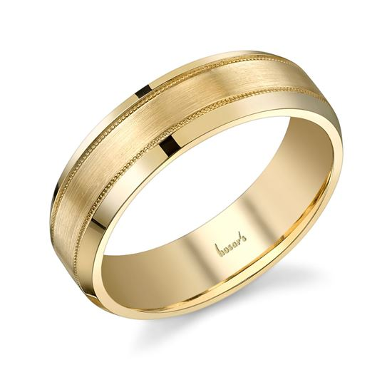 14Kt Yellow Gold Men's Wedding Band with Milgrain