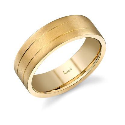 14Kt Yellow Gold Men's Wedding Band in Satin Finish