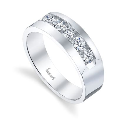 14Kt White Gold Men's Channel Set Diamond Wedding Ring