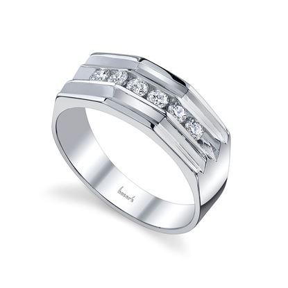 14Kt White Gold Bold Men's Wedding Ring