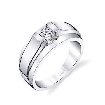14Kt White Gold Men's Cathedral Style Diamond Wedding Ring
