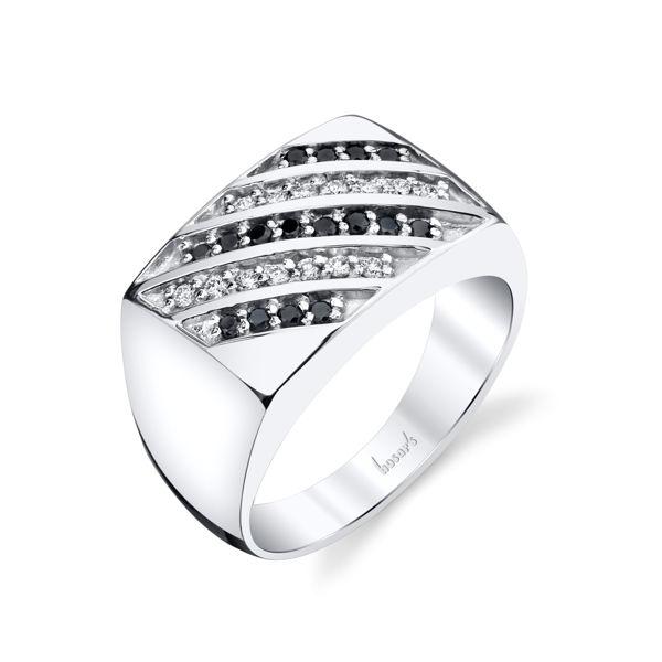 14Kt White Gold Men's Flat Top Diamond Wedding Ring with Black Diamonds