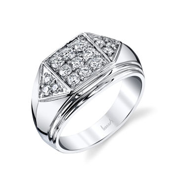 14Kt White Gold Men's Flat Top Diamond Wedding Ring with Triangle Clusters