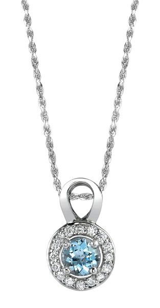 14Kt White Gold Modern Halo Style  Aquamarine and Diamond Pendant