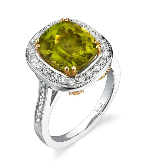 14Kt White and Yellow Gold Unique Halo Style Radiant Peridot, Yellow Sapphire and Diamond Ring