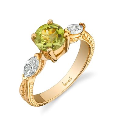 14Kt. Yellow Gold Vintage Style Peridot and Marquise Diamond Ring